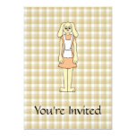 Cute rabbit on a check background. 5x7 paper invitation card