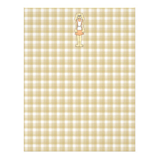 Cute rabbit on a check background. personalized letterhead
