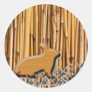 Cute Rabbit On Bamboo Background Classic Round Sticker