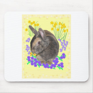Cute Rabbit Photo and flowers Mouse Pads
