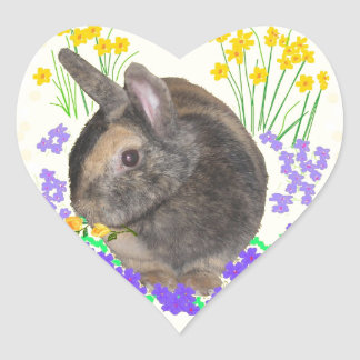 Cute Rabbit Photo and flowers Sticker