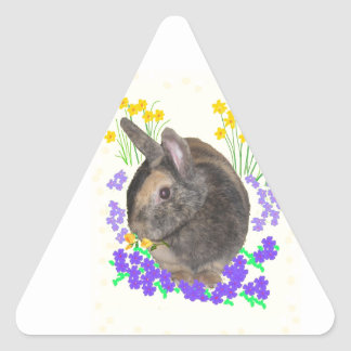 Cute Rabbit Photo and flowers Triangle Sticker