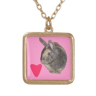 Cute Rabbit Photo and heart Necklace. Gold Plated Necklace