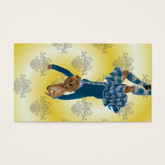 Cute rabbit Scottish highland dancer Business Card