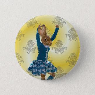 Cute rabbit Scottish highland dancer Button