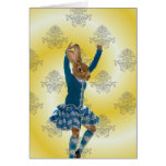 Cute rabbit Scottish highland dancer Card