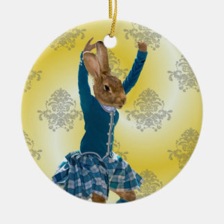Cute rabbit Scottish highland dancer Ceramic Ornament