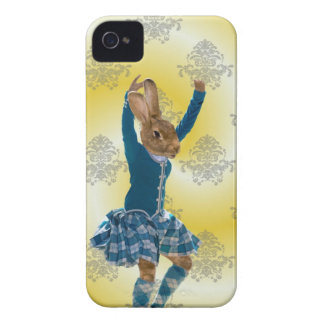 Cute rabbit Scottish highland dancer iPhone 4 Case-Mate Case