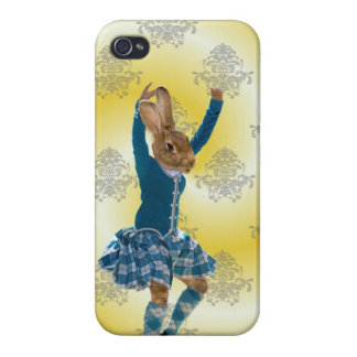 Cute rabbit Scottish highland dancer iPhone 4 Cases