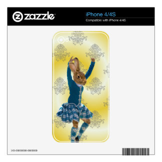 Cute rabbit Scottish highland dancer iPhone 4S Decal