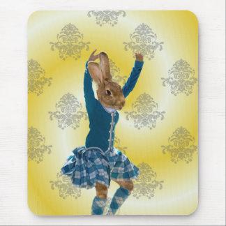 Cute rabbit Scottish highland dancer Mouse Pad