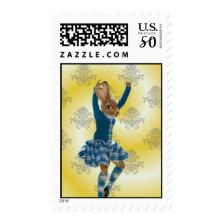 Cute rabbit Scottish highland dancer Postage