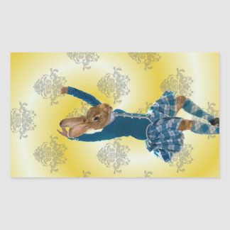 Cute rabbit Scottish highland dancer Rectangular Sticker
