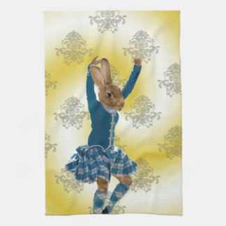 Cute rabbit Scottish highland dancer Towel