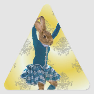 Cute rabbit Scottish highland dancer Triangle Sticker