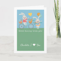 Cute Rabbit Some Bunny Loves You Personalized Card