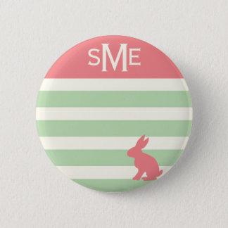 Cute rabbit stripe personalized monogram button