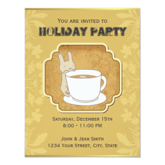 Cute Rabbit  Tea Time Holiday Party Invitation