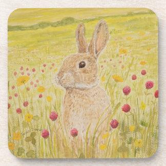 Cute Rabbit, wildflowers Beverage Coaster