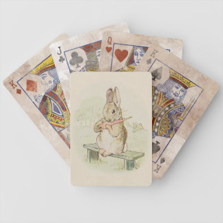 CUTE RABBIT WITH CARROT, VINTAGE BUNNY PLAY CARDS