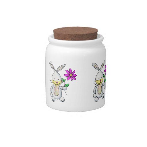 Cute Rabbit With Flower Candy Jar