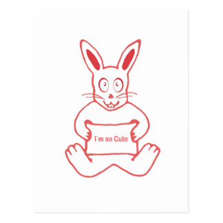 Cute Rabbit with I m So Cute Text Banner Postcard