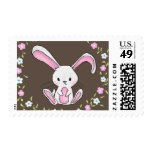 Cute Rabbit Woodland Pink Flowers Baby Shower Postage