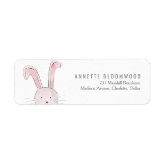 Cute Rabbit Woodland Pink Girl Baby Shower Label