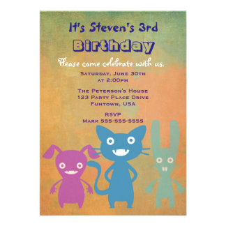 Cute Rabbits and Cats Child's Birthday Party Card