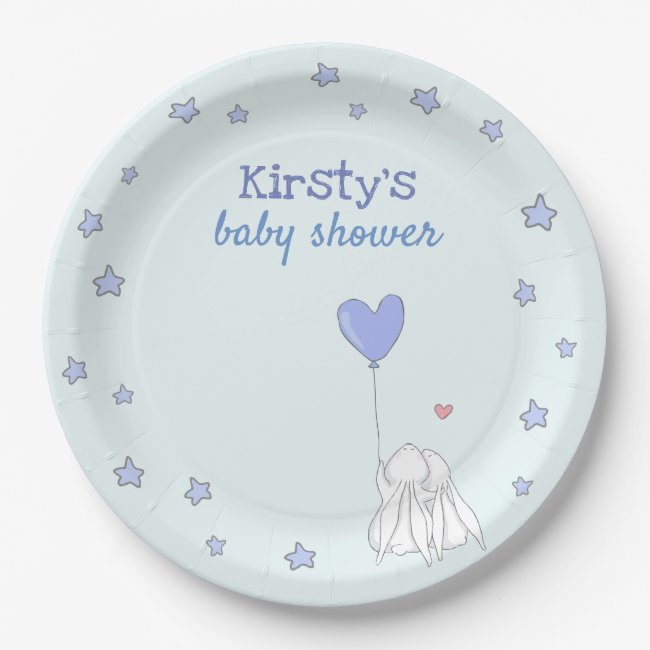 Cute Rabbits - Blue Baby Shower