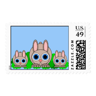 cute rabbits postage stamp
