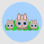 cute rabbits round stickers