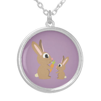 Cute Rabbits Silver Plated Necklace