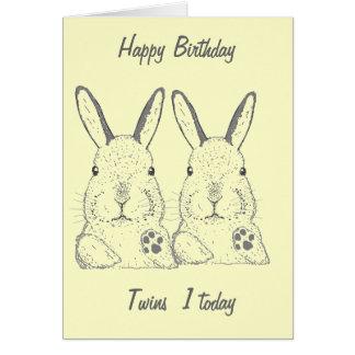 Cute Rabbits Twins Birthday Card