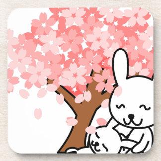 Cute Rabbits under Cherry Blossom Drink Coaster