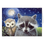 Cute Raccoon and Owl Fantasy Art