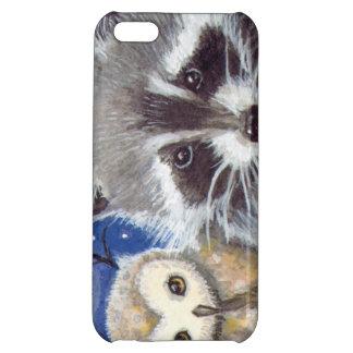 Cute Raccoon and Owl Fantasy Art iPhone 5C Case