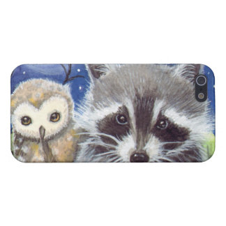 Cute Raccoon and Owl Fantasy Art iPhone SE/5/5s Cover