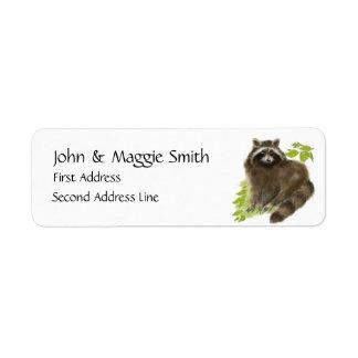 Cute Raccoon Animal, Address Label
