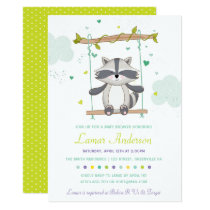 Cute Raccoon Baby Shower Invitation