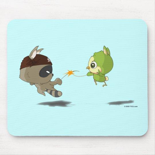 Cute Raccoon Bird Fencing Cartoon Anime Mousepad