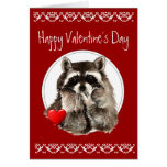 Cute Raccoon Blowing Kisses for your Valentine Greeting Card