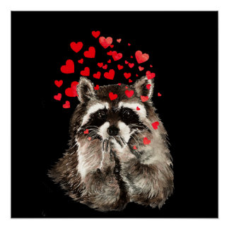 Cute Raccoon Blowing Kisses Funny Love Hearts Poster