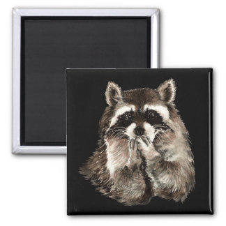 Cute Raccoon Blowing Kisses Humor animal art 2 Inch Square Magnet
