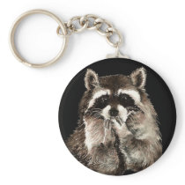 Cute Raccoon Blowing Kisses Humor animal art Keychain