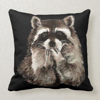 Cute Raccoon Blowing Kisses Humor animal art Throw Pillow