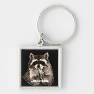 Cute Raccoon Blowing Kisses Humor Custom Name Keychain