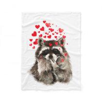 Cute Raccoon Blowing Kisses Love Hearts Animal Fleece Blanket