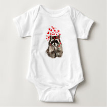 Cute Raccoon Blowing Kisses Love Hearts Baby Bodysuit