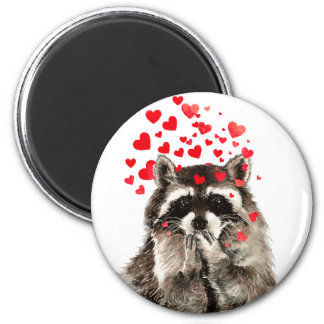 Cute Raccoon Blowing Kisses Love Hearts Magnet